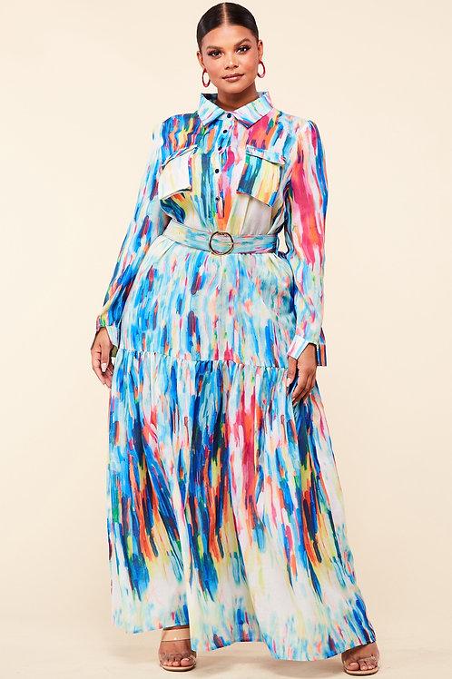 Muliti color plus dress