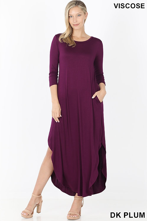 Dark plum long dress with pockets