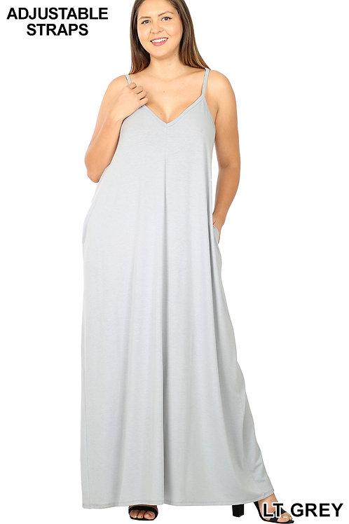 light grey plus maxi dress