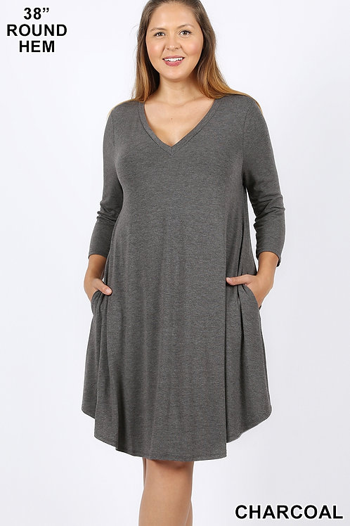 Charcoal short dress with pockets