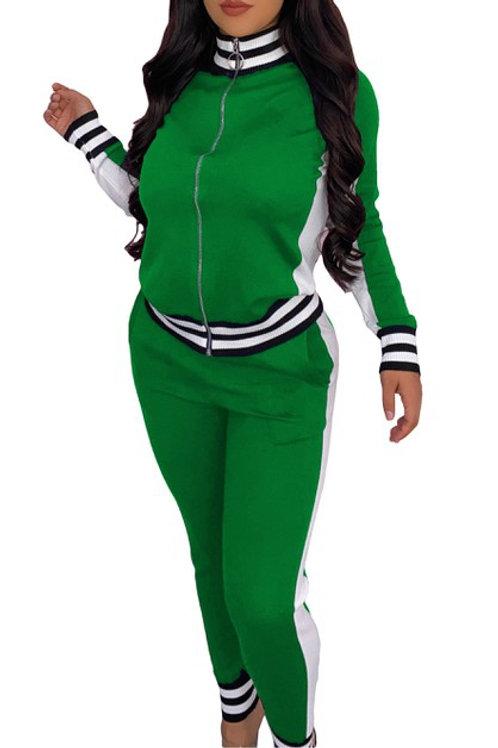 Green stripe pant set