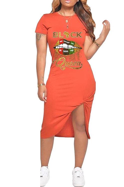 Orange black queen dress