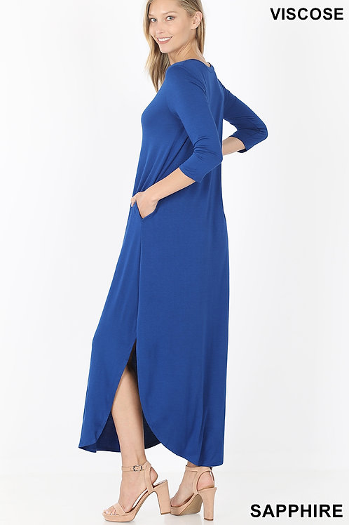 Sapphire long dress with pockets