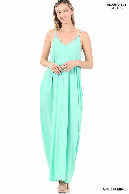 green mint maxi dress
