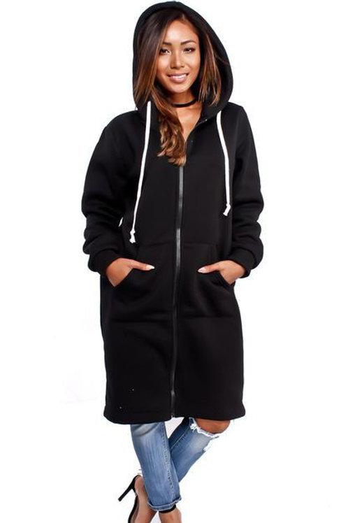 Black zipper hoodie dress