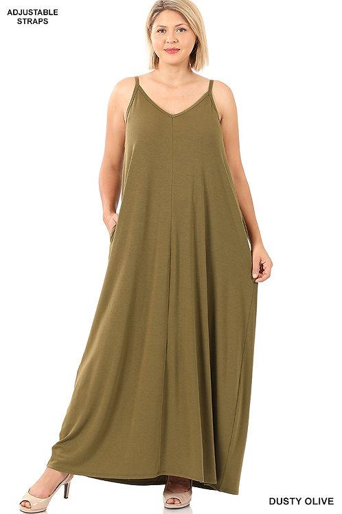 Dusty olive maxi dress