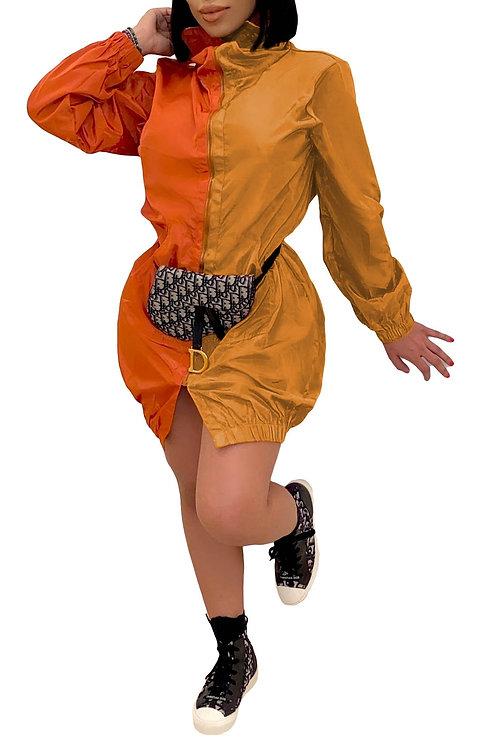 2 tone rust dress