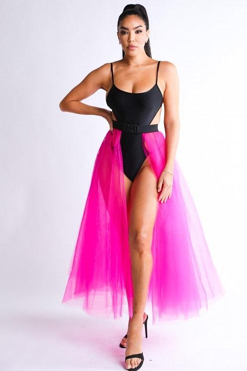 Pink belted tutu skirt