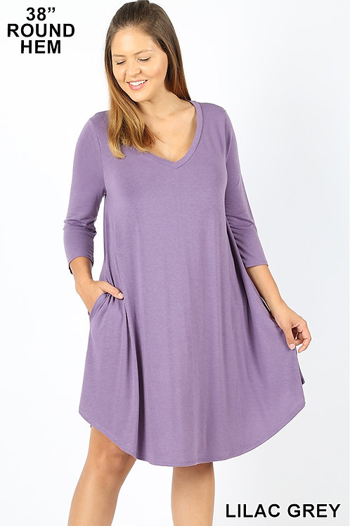 Lilac short dress with pockets