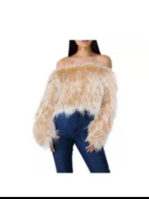 brown faux fur top