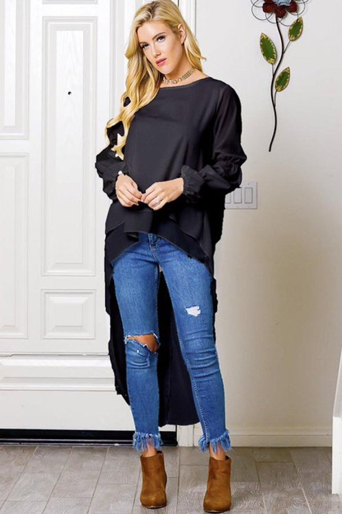Black High low blouse