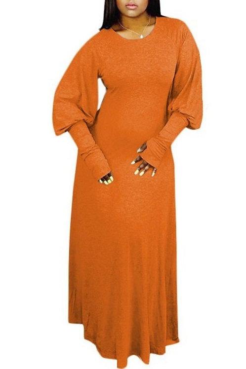 Orange puff sleeve dress