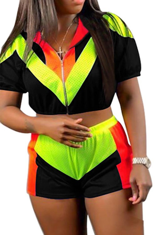 black and neon pant set