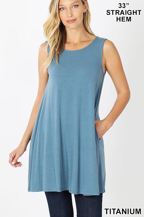 Titanium short sleeve dress with pockets
