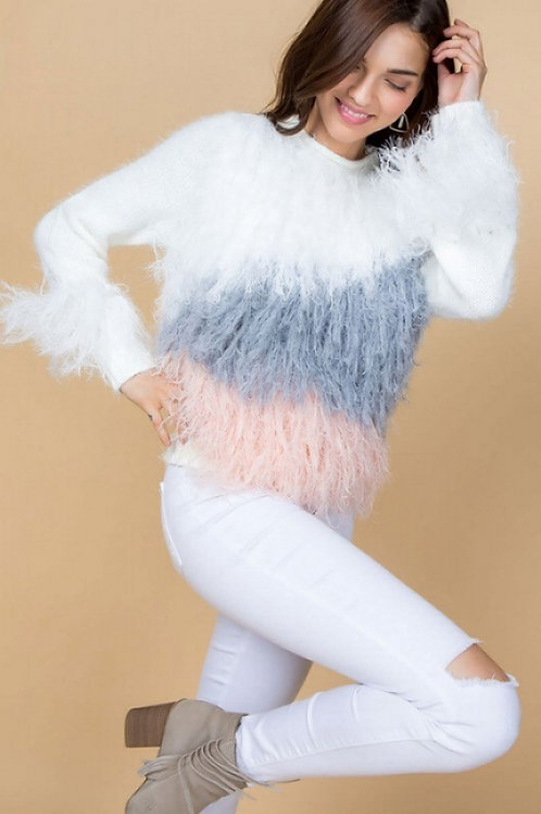 3 color shaggy sweater