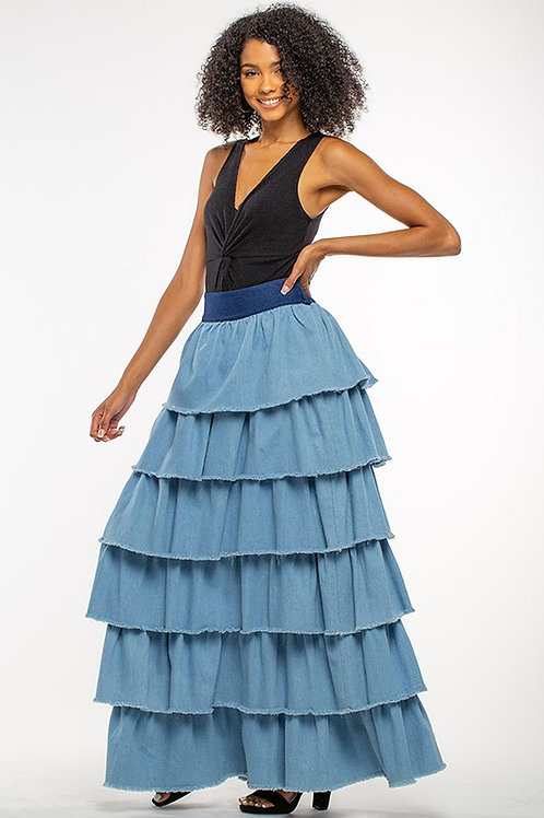 denim layered skirt