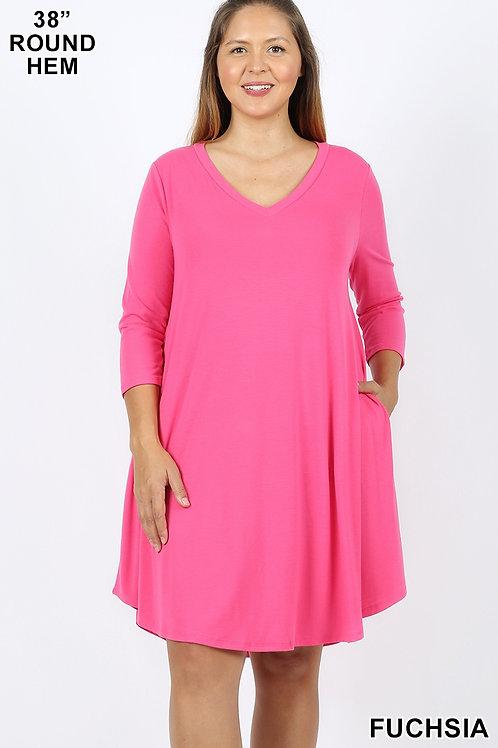Fuchsia short dress with pockets