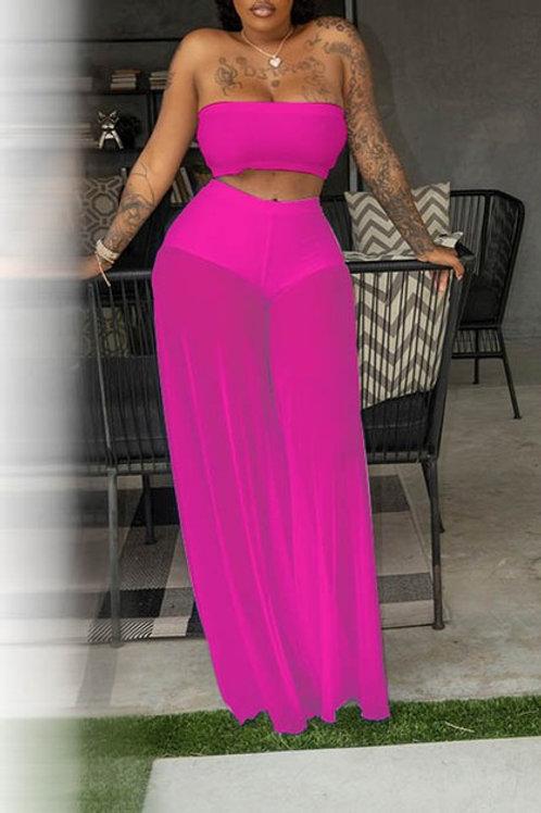 pink pant set