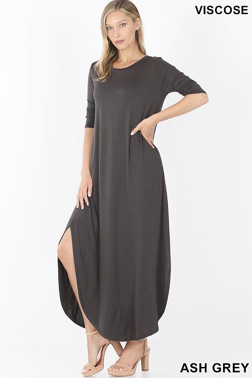 Ash grey long dress with pockets