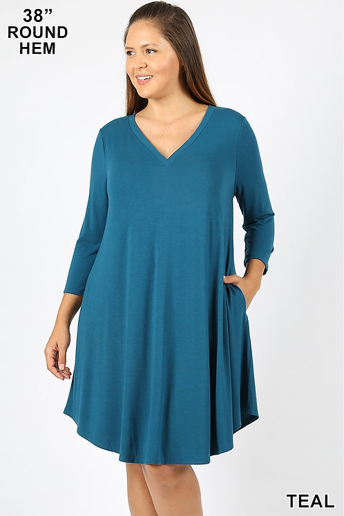 teal short dress with pockets