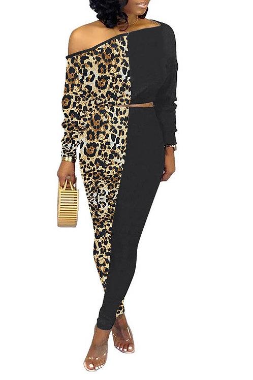 Brown leopard and black set