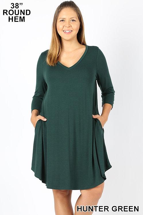 Hunter green short dress with pockets