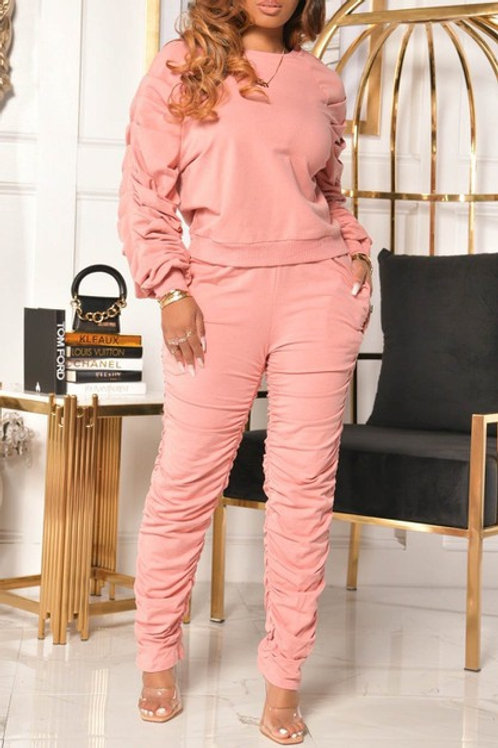 Pink ruffle pant set