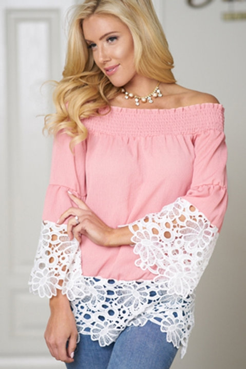 Pink off the shoulder top with lace trimmings