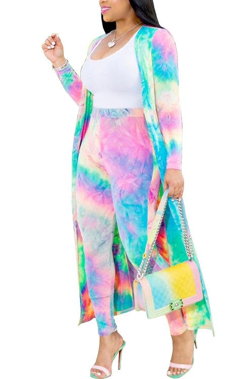 tie dyed cardigan set