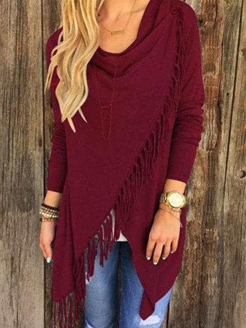 burgundy fringe top