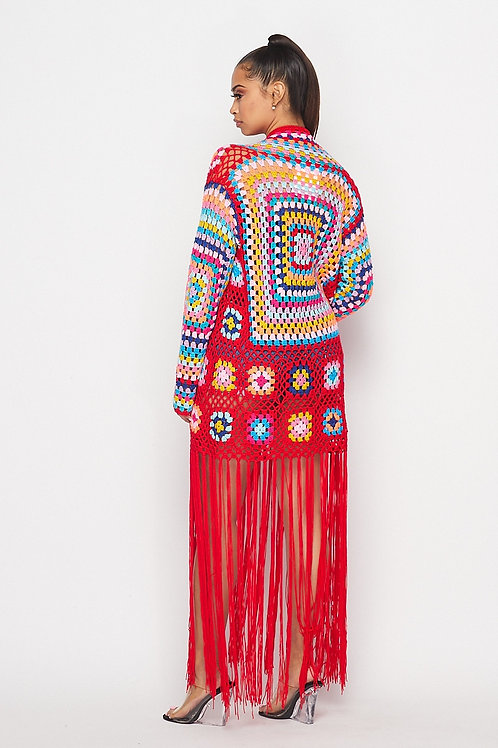 Red fringe cardigan