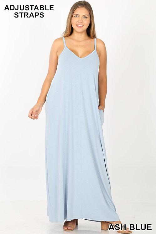 Ash blue plus maxi dress