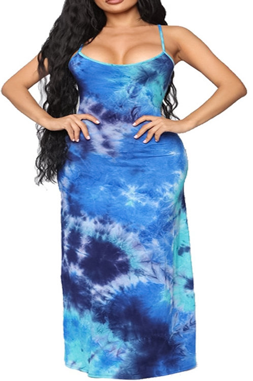 blue tie dye dress