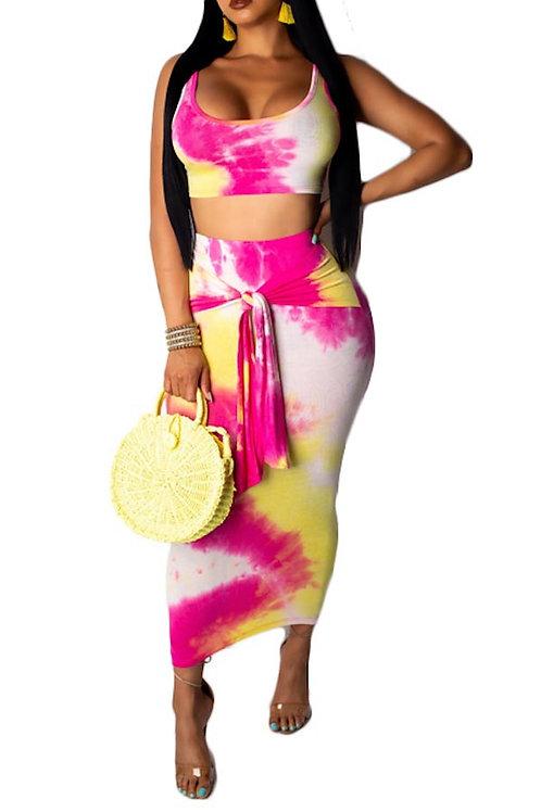 pink tie dye skirt set