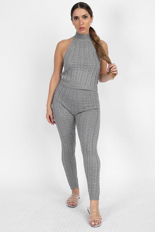 grey halter sweater set