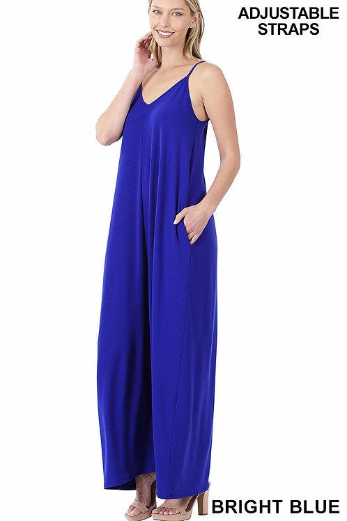bright blue maxi dress