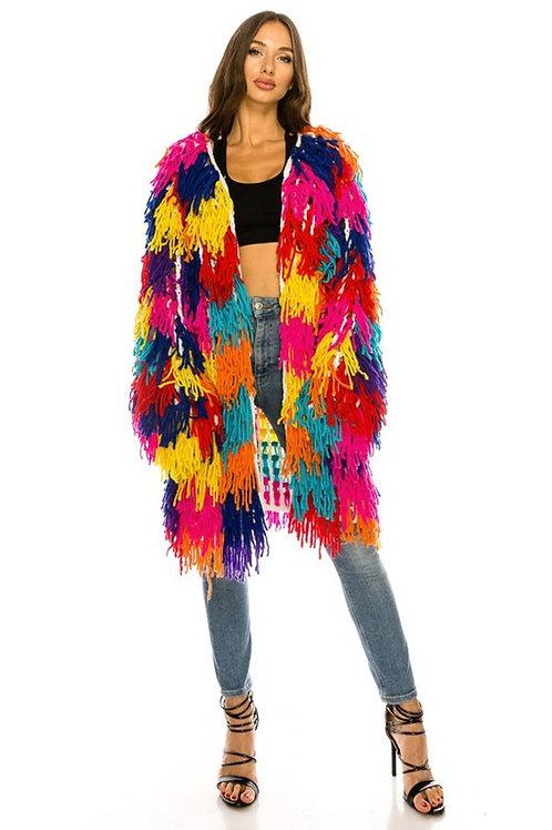 Multicolor shaggy sweater