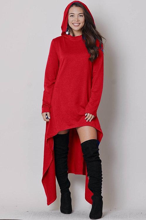 red hoodie dress