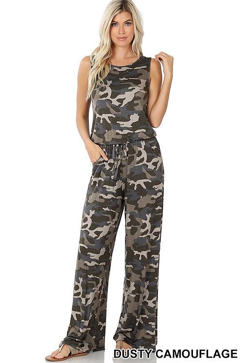 Dusty camo sleeveless jumpsuit
