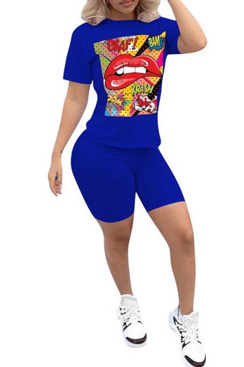 blue short pant set
