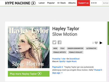 Thanks to Hype Machine for featuring my new song