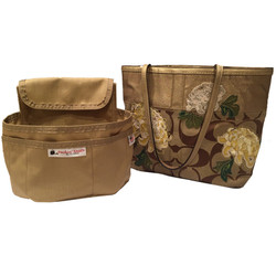 tan and light brown purse