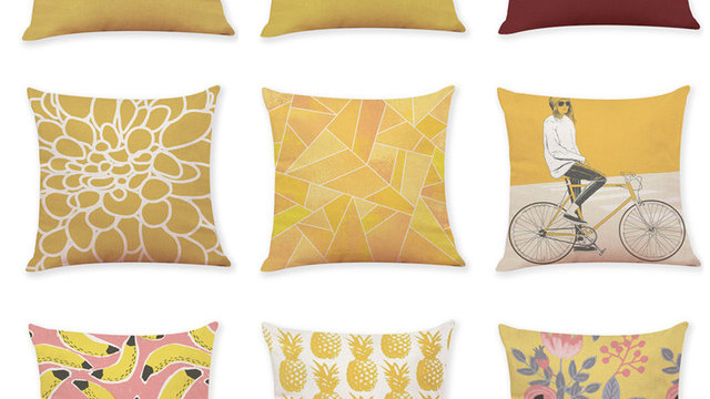 1 PC Pillow Case Home Decor Cushion Cover Yellow