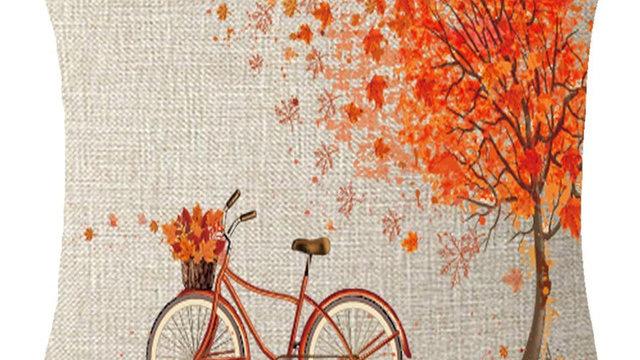 Happy Autumn Pillowcase Tree Maple Leaf Bicycle