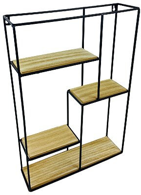 Wood & Wire Multi Shelf Display Unit