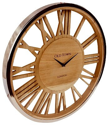 Wooden Clock With Glass Cover - 48cm
