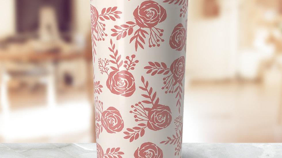 Warm Pink Floral Travel Coffee Mug