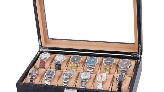 6/12 Slot Watch Box Carbon Fiber Wrist Watch
