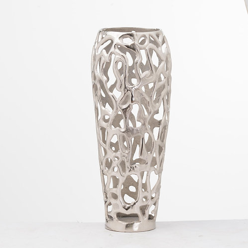 Ohlson Silver Perforated Coral Inspired Vase