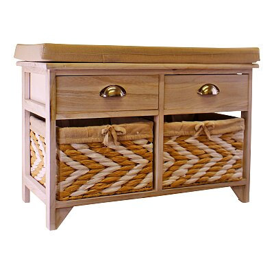 Wooden Storage Bench With 2 Drawers & 2 Baskets
